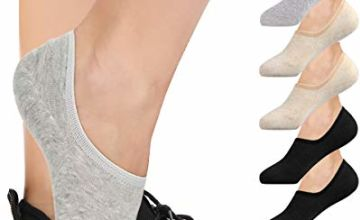 6 Pairs Invisible Socks No Show Socks for Women Casual Low Cut Socks with Non Slip Grip Cotton Liner Socks