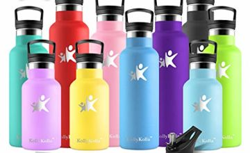 KollyKolla Insulated Water Bottle, Stainless Steel Vacuum Drinks Bottles - 350/500/600/750ml/1L - Leakproof Hot/Cold Metal Flask with 2 Straws & Lids, Bpa Free for Kids, Sports, Gym, Running