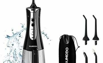YOUNGDO Water Flosser, Portable Oral Irrigator Dental Flosser IPX7 Waterproof 300ml Reservoir and 4 Jet Nozzles,3 Modes,USB Rechargeable,Power Flossers for Home and Travel FDA Approved