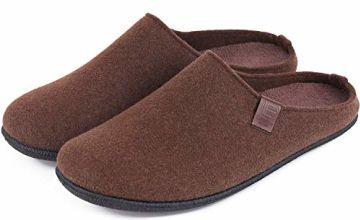 LongBay Men's Slippers Slip On Mule Wool Blend Removable Ins
