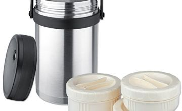 Isosteel Vacuum Food 1.5 L, Dishwasher Proof, 18/8 Stainless Steel, Plus 3 Plastic containers-Suitable for Micro Wave, VA-9683