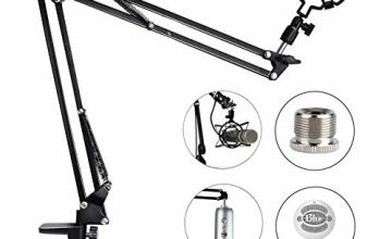 Adjustable Microphone Stand Mic Suspension Boom,Compact Mic Stand Made of Durable Steel with Shock Mount Table Mounting Clam Screw Adapter for or Radio Broadcasting Studio, Stages,TV Stations