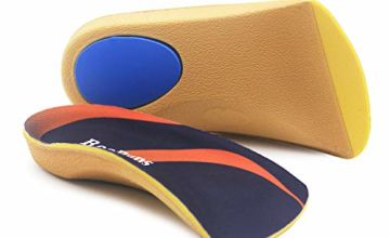 Orthotic Insoles, RooRuns 3/4 High Arch Support Insoles Shoe Inserts for Flat Feet, Plantar Fasciitis, Foot Arch, Feet Fatigue - Heel Cushion for Men, Woman, Deep Blue, Small (3-5.5 UK)