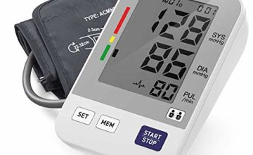 Blood Pressure Monitor, HYLOGY Upper Arm Digital Blood Pressure Machine with Large LCD Display, Adjustable Cuff for Home Use, Heartbeat Detector, Hypertension Indicator, 2 * 90 Memory Capacity