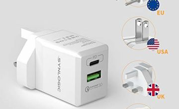 SYNLOGIC USB C Wall Charger, 30W Type C Power Delivery Charger Fast Charging Travel Adapter Plug PowerPort 2 with 18W PD& Quick Charger 3.0 for iPhone 11 /XS/iPad Pro/Huawei/Galaxy S9 etc.