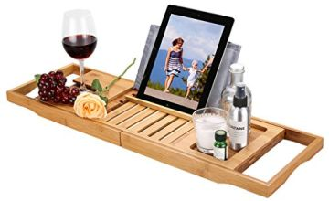 LANGRIA 100% Bamboo Wood Expandable Bath Deck with Book and Tablet Wine Rack Adaptable to Various Bathroom Rust and Water Resistant Bath Widths (Brown)
