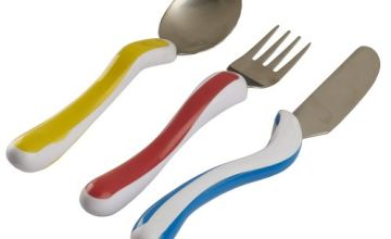 NRS Healthcare M80282 Kura Care Easy Grip Children's Cutlery - Knife,  Fork and Spoon Set (Eligible for VAT Relief in The UK)