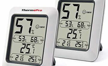 ThermoPro TP50 Digital Indoor Room Thermometers Hygrometer Monitor Temperature and Humidity Meter for Home Office Nursery Comfort, Min/Max Records, 2 Pieces