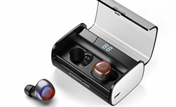 Poweradd Wireless Earphones Bluetooth 5.0-90H Playtime 3D Stereo Sound True Wireless Headphones with Mic, Noise Canceling, IPX7 Waterproof, LED Display 3000mAh Quick Charging Case, for iPhone/Android