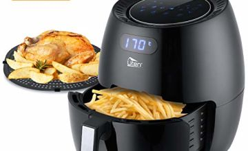 Uten 6.5L Air Fryer 1900W with Rapid Air Technology for Healthy Oil Free & Low Fat Cooking, Baking and Grilling, Plastic, 1900 W