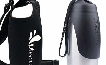 VIVAGLORY 750ml Stainless Steel Dog Bottle and Insulated Neoprene Bottle Carrier for Walking and Hiking