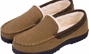 Men's Memory Foam Plush Fleece Lined Moccasin Slippers, Indoor Outdoor Wool Micro Suede Shoes