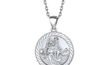 Silvora S925 Saint Christopher Pendant Necklace, Sterling Silver/18K Gold St Christopher Medal Coin Pendants Jewelry (Send Gift Box)