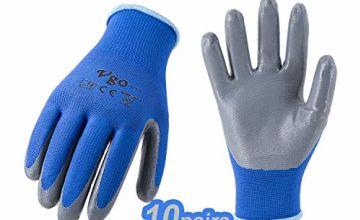 Vgo 10Pairs Nitrile Coated Men's Work Gloves and Gardening Gloves, Builder Gloves, Construction, Mechanic, General Purpose (Blue, NT2110)