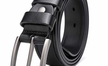 KeeCow Leather Belt Men 100% Full Grain Cowhide Mens Belt Great for Suits Jeans Casual and Formal Wear Up To 44inch Waist