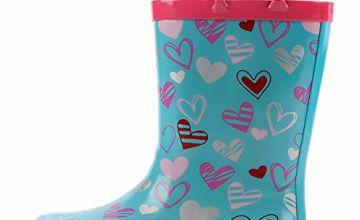 K KomForme Kids Wellies, Girls Non-Slip Rubber Rain Boots with Handles