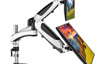 HUANUO Aluminum Dual Monitor Mount Height Adjustable, Gas Spring Arm 360 ° Rotatable for 13 to 27 inch LED LCD Screens, with 2 Mounting Options