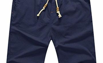 AIYINO Mens Cotton Casual Classic Fit Summer Shorts (X-Large, 1-Navy)