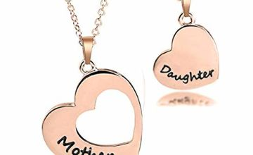 Mother Daughter Heart Necklace Matching Heart Love Engraved
