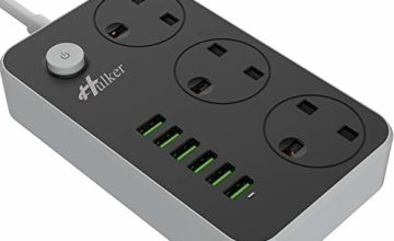 HULKER Power Strips with USB Ports 3 Way Outlets 6 USB Ports Surge Protection Power Strip Universal Power Socket with 2M Bold Extension Cord Smart USB Charger Power (UK Socket)