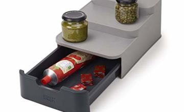 Joseph Joseph CupboardStore Compact Tiered Organiser with Drawer- Grey