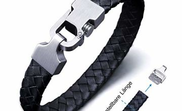 Amtier Men's Genuine Leather Braided Bracelet Adjustable Strap with Stainless Steel Push-Pull Clasp