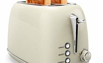Toaster 2 Slice, Stainless Steel Toasters with Cancel, Defrost Function, Extra Wide Slot Compact Stainless Steel Toasters for Bread Waffles, Beige