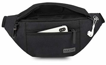 MAXTOP Bumbag Waist Fanny Pack for Men Women Unisex Bum Bag with Headphone Jack and 3-Zipper Pockets Adjustable Belt for Outdoors Workout Hiking Bumbags