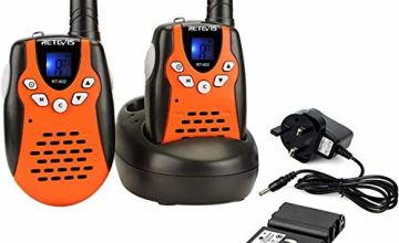Retevis RT602 Kids Walkie Talkies Rechargeable PMR446 8 Channels Flashlight VOX Children Walkie Talkies with Li-ion Batteries and Charger (Orange,1 Pair)