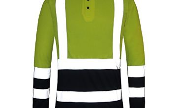 AYKRM Work Wear High Visibility Hi Vis Polo T-Shirt ,Yellow,