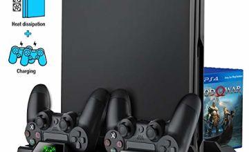BEBONCOOL for PS4 Playstation Vertical Stand Cooling Fan Cooler Fans System Pro Slim Game Controller Holder Charging Station Dock Pad