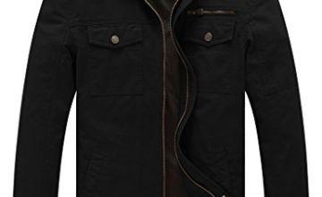 WenVen Men's Windbreaker Cotton Military Jacket