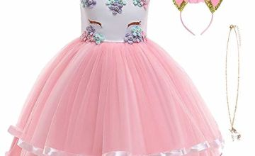 URAQT Unicorn Costume, Princess Unicorn Dress Fancy Dress with Necklace, Headband for Kids & Toddlers Birthday/Cosplay/Hallween Party, Age 2-10 Years