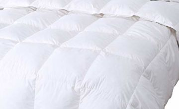 DUO-V HOME Goose Feather & Down Duvet Quilt, 13.5 Tog 100% Cotton Shell Anti Dust Mite & Down Proof Fabric, White