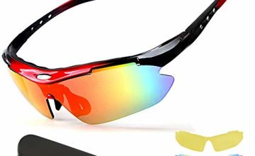 New rui cheng Cycling Glasses, Sport Glasses Anti-UV400 Protection Sports Sunglasses Sport Protective Glasses Lightweight Windproof Goggles Outdoor Running Driving Fishing Sports Mens Sunglasses Women