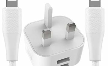 BSTOEM One Iphone Charger Plug And Two Iphone Cable 2 Ports 2.4A Multi USB Charger Compatible With IPad IPhone Max/X/XR/X/11/8/7/6/6s Plus/SE/5c