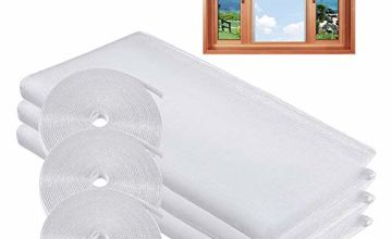 MOEGFY Window Screen Mosquito Netting,3 Pack Fly Screen Window DIY Self-Adhesive Insect Mesh Curtain Bug Bee Protector 51x59 Inches with 3 Rolls Hook Sticky Tape,Fitted to Multiple Windows