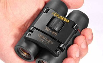 DFlamepower mini 30x60 Compact Folding Binoculars Telescope with Waterproof for adults/kids/outdoor birding/travelling/sightseeing/hunting/birdwatching