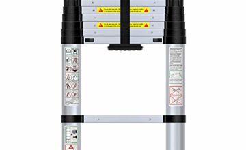 WolfWise 2.6M/3.2M/3.8M Telescoping Ladder, Aluminum Telescopic Extension Tall Multi Purpose Loft Ladder, 330 pound/150 kg