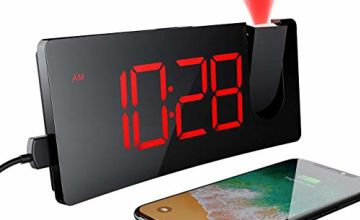 Mpow Alarm Clock, LED Digital Alarm Clock with USB Charging Port, Projection Alarm Clock with 5'' LED Curved-Screen for Bedroom and Office, 12/24H, Snooze, 3 Levels of Brightness, Mains Powered