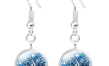 JIAYIQI Ethnic Graceful Drop Earrings Glass Cabochon Dangle Tree of Life Jewellery Women for Party