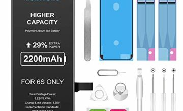 Battery Replacement for iPhone 7 2200mAh High Capacity Battery for iPhone 7 with All Repair Kits Tools, plus 2* Adhesive Strips 1* Display Adhesive and Instructions