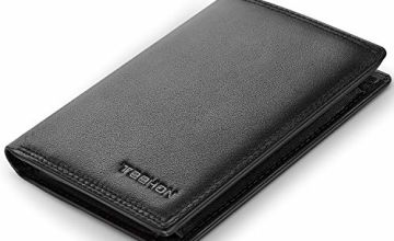 TEEHON® Wallets Mens RFID Blocking Genuine Leather with 12 Credit Card Holders, Coin Pocket, 2 Banknote Compartments, ID Window, Bifold Vertical Slim Wallet for Men with Gift Box- Black