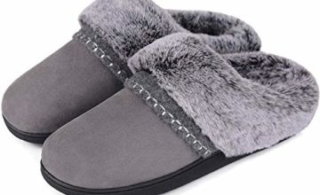 Women's Suede Slippers Fluffy Memory Foam Fur Collar Clog Slipper with Anti Skid Sole Indoor Outdoor House Shoes
