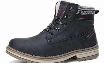 ABTOP Snow Boots Womens Winter Boots Warm Ankle Fully Fur Lined Anti-Slip Leather Boots Work Walking Hiking Outdoor Urban 4UK-7UK