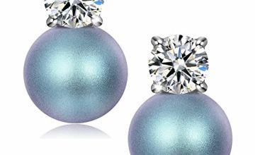 Mothers Day Gifts, Pearl Earrings, 925 Sterling Silver, Blue Zircon Pearl Earrings for Women