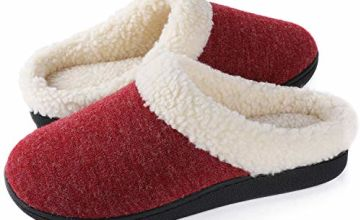 Wishcotton Women's Two-Tone Fleece Slippers Warm Indoor House Shoes