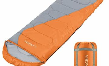 LANGRIA 3 Seasons Sleeping Bag with 2 Way Zipper & Compression Bag, Outdoor Lightweight Adults Sleeping Bags for Traveling Sleepover Camping Backpacking Hiking Festival