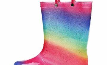 K KomForme Kids Light-Up Rain Boots, Flashing Wellies Wellington for Girls and Boys Size 4-13 1-2