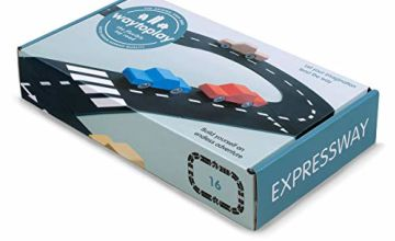 waytoplay, expressway black with white striping, 16 pieces